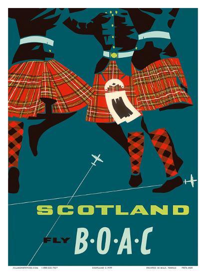 Scotland - Scottish Highland Dancers in Royal Stewart Tartan Kilts--Art Print