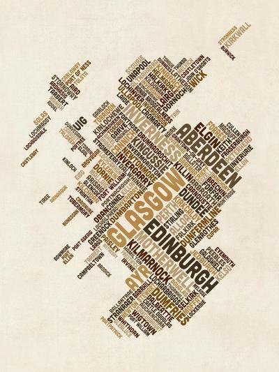 Scotland Typography Text Map-Michael Tompsett-Art Print