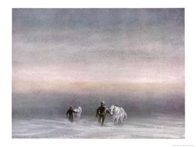 Scott Exercising the Ponies Through the Snow-Edward A^ Wilson-Giclee Print