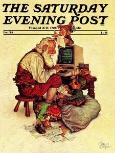 """Santa's Computer,"" Saturday Evening Post Cover, December 1, 1982 by Scott Gustafson"