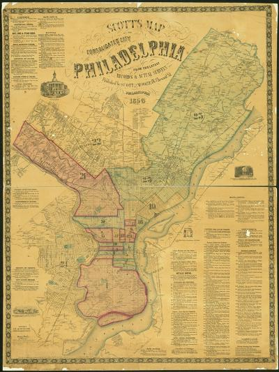 Scott's Map of the Consolidated City of Philadelphia, 1856-James Scott-Giclee Print