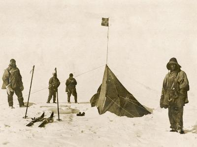 Scott's Team Arrive at the South Pole to Find That Amundsen's Crew Have Beaten Them to It--Photographic Print