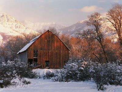 Barn Below Bear River Range in Winter, Utah, USA