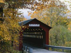 Covered Bridge with Fall Foliage, Battenkill, Chisleville Bridge, Vermont, USA by Scott T. Smith