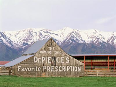 Dr Pierce's Barn, Wellsville Mountains in Distance, Cache Valley, Utah, USA by Scott T. Smith