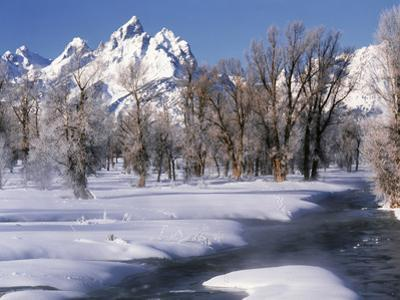 Grand Teton National Park Covered in Snow, Wyoming, USA