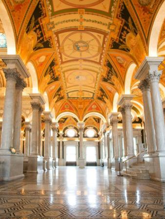 Great Hall of Jefferson Building, Library of Congress, Washington DC, USA