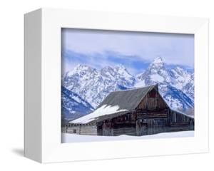Moulton Barn below the Teton Range in winter by Scott T^ Smith