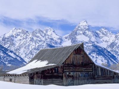 Moulton Barn below the Teton Range in winter