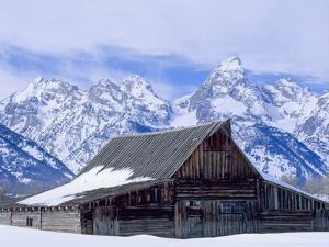Moulton Barn below the Teton Range in winter by Scott T. Smith