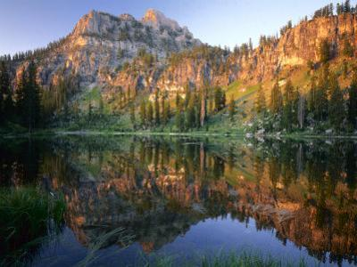 Mt. Magog Reflected in White Pine Lake at Sunrise, Wasatch-Cache National Forest, Utah, USA by Scott T. Smith