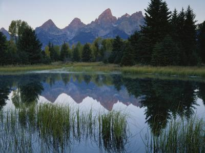 Reflection of Mountains in River, Schwabacher's Landing, Grand Teton National Park, Wyoming, USA by Scott T. Smith