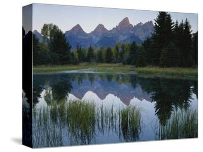 Reflection of Mountains in River, Schwabacher's Landing, Grand Teton National Park, Wyoming, USA