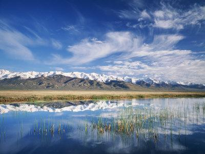 Ruby Mountains and Slough along Franklin Lake, UX Ranch, Great Basin, Nevada, USA