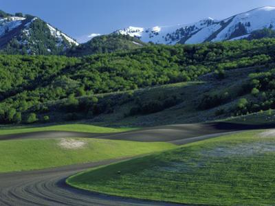 Utah. USA. Fields in Spring Below Wellsville Mountains. Cache Valley