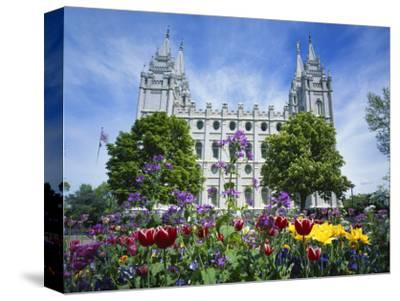 View of Lds Temple with Flowers in Foreground, Salt Lake City, Utah, USA