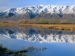 Wellsville Mountains Reflected in Little Bear River in Early Spring, Cache Valley, Utah, USA by Scott T. Smith