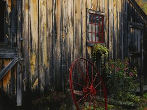 Wheel Besides Barn, Drury Place, Weston, Vermont, USA by Scott T. Smith