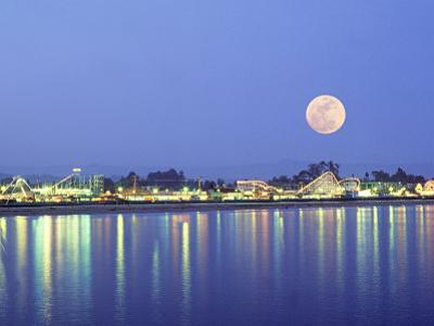 Amusement Park with Full Moon, Central California
