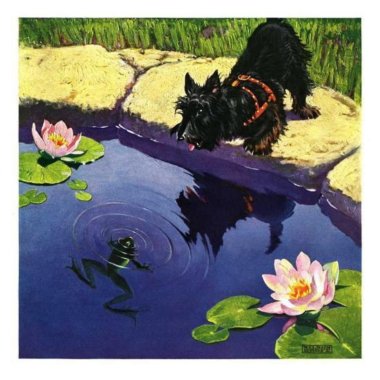 """""""Scottie and Frog,""""August 1, 1935-Nelson Grofe-Giclee Print"""