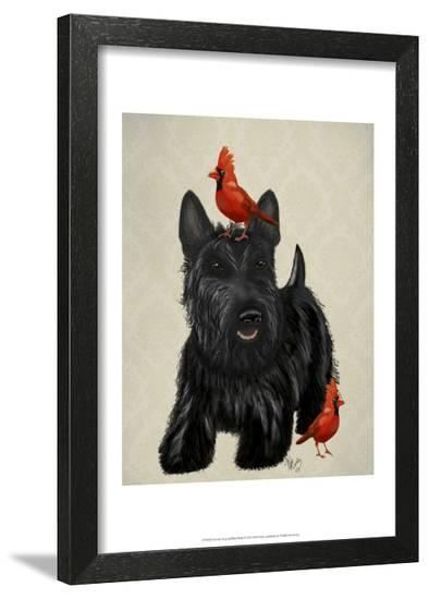 Scottie Dog and Red Birds-Fab Funky-Framed Art Print