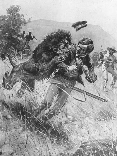 Scottish Missionary and Explorer David Livingstone Being Attacked by a Lion, Africa, 19th Century--Giclee Print