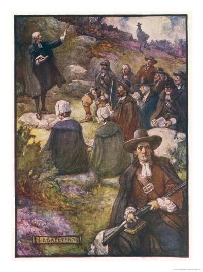 Scottish Presbyterians Worship in Defiance of Conventicle Acts-J.r. Skelton-Giclee Print