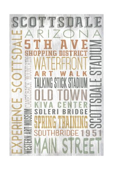 Scottsdale, Arizona - Barnwood Typography-Lantern Press-Art Print