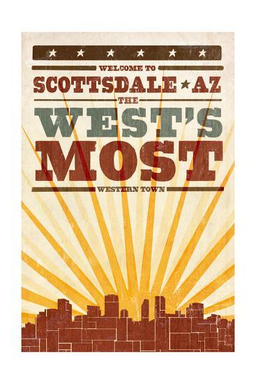 Scottsdale, Arizona - Skyline and Sunburst Screenprint Style Art Print by  Lantern Press | Art com