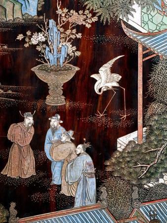 Screen Called 'Coromandel' with Scenes from Life in Forbidden Town of Peking: Dignitaries in Garden