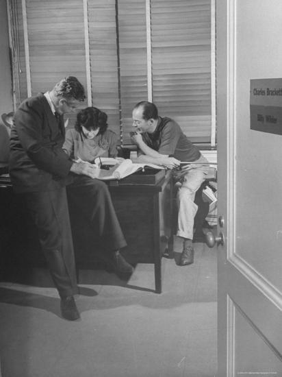 Screenwriting Team of Charles Brackett and Billy Wilder Dictating to Secretary in Paramount Office-Peter Stackpole-Premium Photographic Print