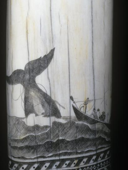 Scrimshaw Carving of a Whaling Scene in the Mid 1800S on a Sperm Whale Tooth-Ken Lucas-Photographic Print