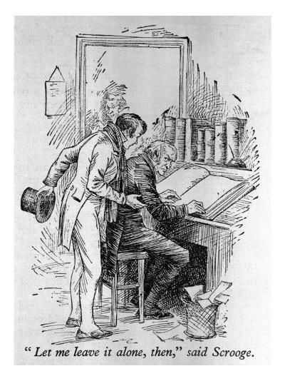 """Scrooge Scorns His Nephew's Enthusiasm for Christmas, Saying """"Bah! Humbug!""""--Giclee Print"""