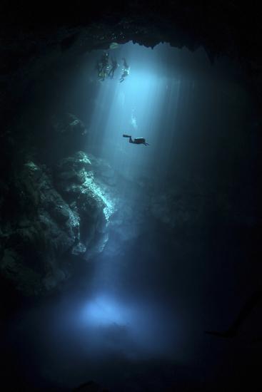 Scuba Diver Descends into the Pit Cenote in Mexico--Photographic Print