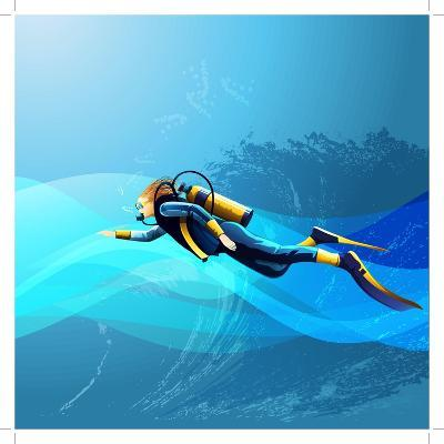 Scuba Diver Girl- Conceptcafe-Art Print
