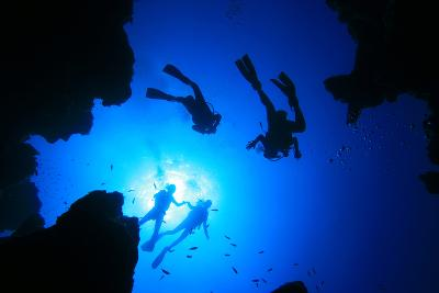 Scuba Divers about to Descend into an Underwater Canyon-Rich Carey-Photographic Print