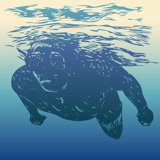 Scuba Diving. Hand Drawn Design Element. Vector Illustration.-jumpingsack-Art Print