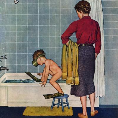 """Scuba in the Tub"", November 29, 1958-Amos Sewell-Giclee Print"