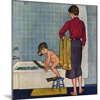 """""""Scuba in the Tub"""", November 29, 1958-Amos Sewell-Mounted Giclee Print"""