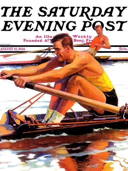"""""""Sculling Race,"""" Saturday Evening Post Cover, August 15, 1936-Maurice Bower-Giclee Print"""