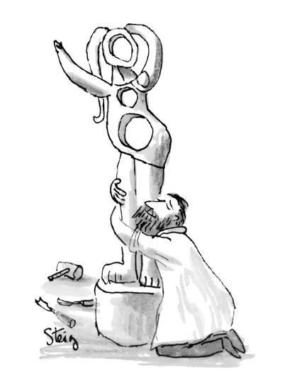 Sculptor on his knees embraces semi-abstract female statue he has Just com? - New Yorker Cartoon-William Steig-Premium Giclee Print