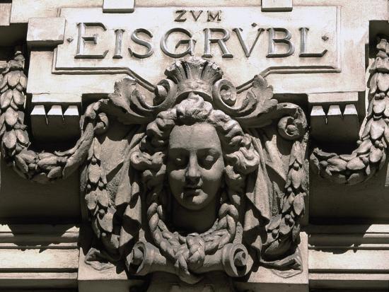 Sculptural Decoration of Building with Inscription Zum Eisgruebl, Vienna, Austria--Giclee Print