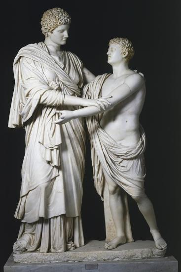 Sculptural Group of Electra and Orestes, Roman Copy of the Hellenistic Original--Giclee Print