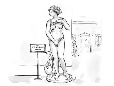 Sculpture at museum lifting shirt and pulling on bottoms with a sign that … - Cartoon-Carolita Johnson-Premium Giclee Print