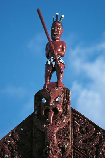 Sculpture Atop Maori Meeting House, Ohinemutu Village, Greater Rotorua, North Island, New Zealand--Giclee Print