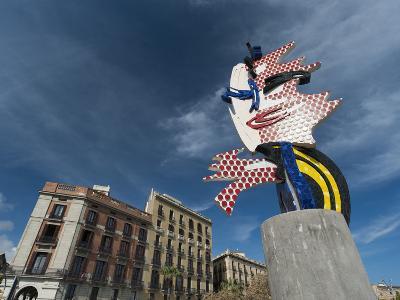 Sculpture Entitled Barcelona Head by Roy Lichtenstein, Placa D'Antoni Lopez, Barcelona, Catalonia, -Sergio Pitamitz-Photographic Print