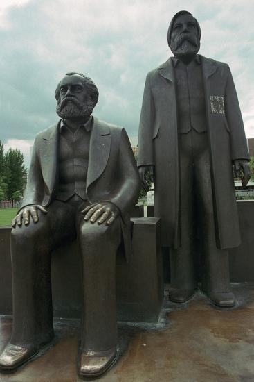 Sculpture of Karl Marx and Engels. Artist: Unknown-Unknown-Photographic Print