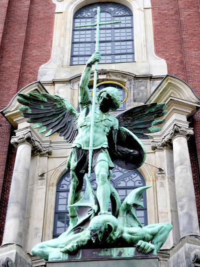 Sculpture of the Archangel Michael Defeating Satan, St Michael's Church, Hamburg, Germany-Miva Stock-Photographic Print