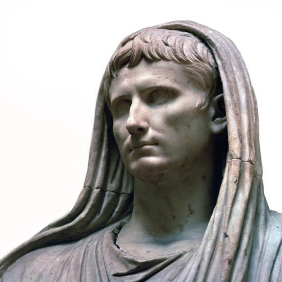 Sculpture of the Emperor Augustus as the Pontifex Maximus, 1st century BC. Artist: Unknown-Unknown-Giclee Print