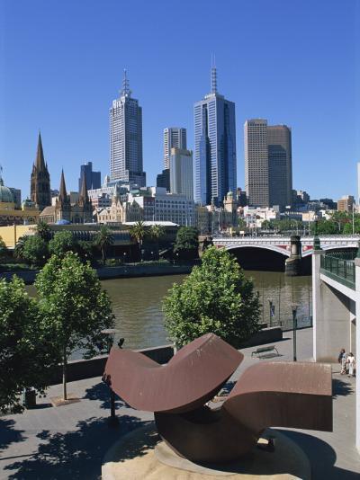 Sculpture on Yarra River Embankment and City Skyline, Melbourne, Victoria, Australia, Pacific-Hans Peter Merten-Photographic Print
